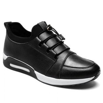 Low Top PU Leather Casual Shoes - BLACK BLACK