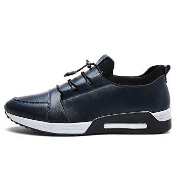 Low Top PU Leather Casual Shoes - BLUE BLUE