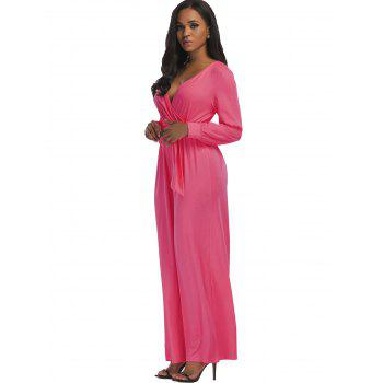 Surplice Belted Wide Leg Jumpsuit - PINK PINK