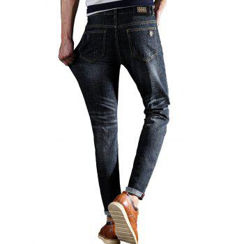 Slim Fit Owl Embroidery Zip Fly Jeans - BLACK BLACK