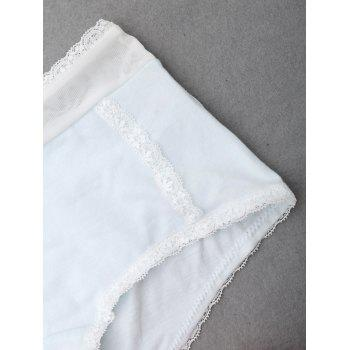 Lace Trim Mid Rise Panties - CLOUDY CLOUDY