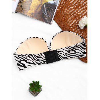 Strapless Zebra Print Push Up Bra - BLACK BLACK