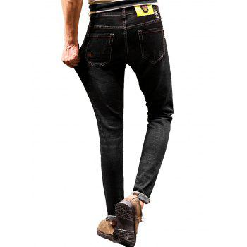 Zip Fly Graphic Print Cuffed Jeans - BLACK BLACK