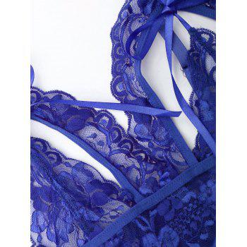 Sheer Cut Out Teddy with Lace - BLUE BLUE