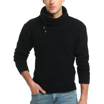 Drawstring Cowl Neck Pullover Sweater - BLACK BLACK