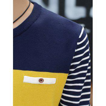 Color Block Faux Pocket Stripe Sweater - GRAY GRAY