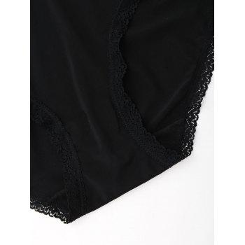 Seamless Lace Trim Panties - BLACK BLACK