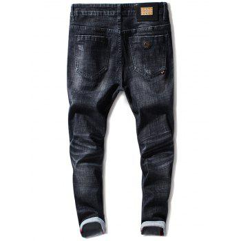 Scratched Metal Embellished Taper Fit Jeans - BLACK BLACK