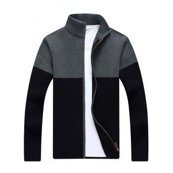 Ribbed Color Block Zip-front Cardigan - BLACK BLACK