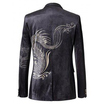 Single Breasted Totem Print Velvet Blazer - COLORMIX COLORMIX