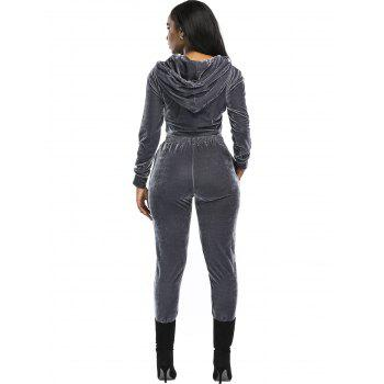 Velvet Cropped Hoodie and Pants Suit - GRAY GRAY