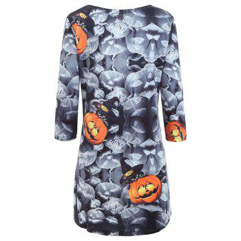 Halloween Pumpkin Print High Low Long Sleeve Dress - COLORMIX XL