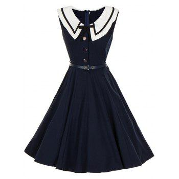 Vintage Sailor Collar Buttoned Pin Up Dress - PURPLISH BLUE PURPLISH BLUE