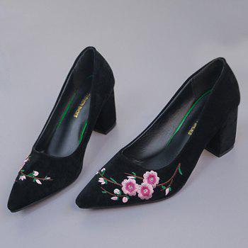 Pointed Toe Chunky Embroidery Flower Pumps - BLACK BLACK