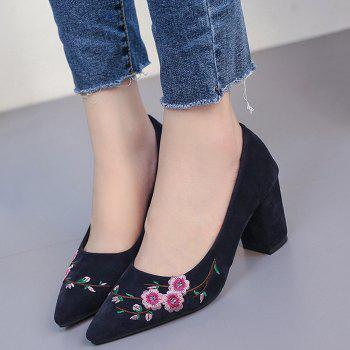 Pointed Toe Chunky Embroidery Flower Pumps - BLUE BLUE