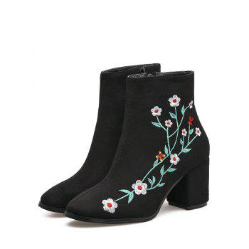 Embroidery Floral Chunky Ankle Boots - BLACK BLACK