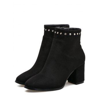 Chunky Heel Rivet Pointed Toe Ankle Boots - BLACK BLACK