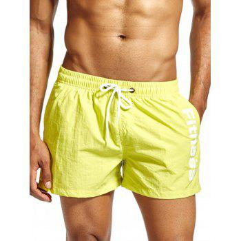 Drawstring Mesh Lining Fitness Shorts - FLUORESCENT YELLOW FLUORESCENT YELLOW
