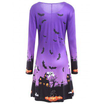 Pumpkin Bat Print Long Sleeve Halloween Swing Dress - PURPLE S