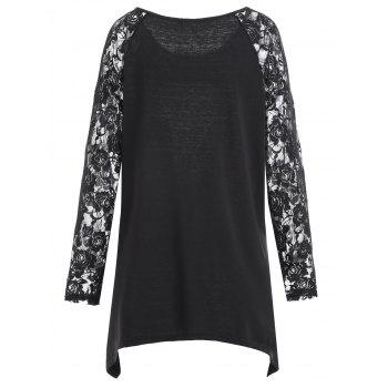 Plus Size Lace Panel Halloween Asymmetrical T-shirt - BLACK BLACK