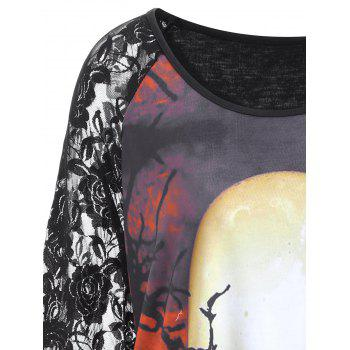 Plus Size Lace Panel Halloween Moon Asymmetrical T-shirt - BLACK 3XL