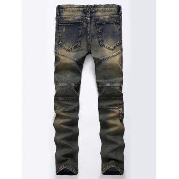 Straight Color Wash Ripped Biker Jeans - KHAKI GREY 32