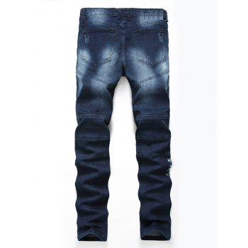 Straight Color Wash Ripped Biker Jeans - CERULEAN 38