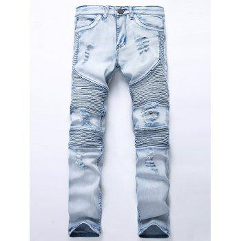 "<P>Straight Color Wash Ripped Biker Jeans</P><I Class=""Icon Down Js Tap Up Down""></I> by Dress Lily"
