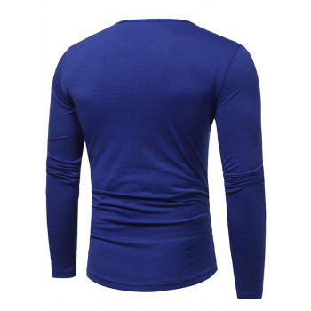 PU Leather Horn Button Long Sleeve T-shirt - ROYAL L