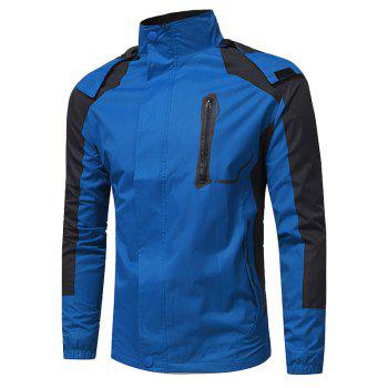 Hooded Color Block Zip Up Technical Jacket - BLUE BLUE