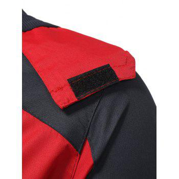 Hooded Color Block Zip Up Technical Jacket - RED 2XL