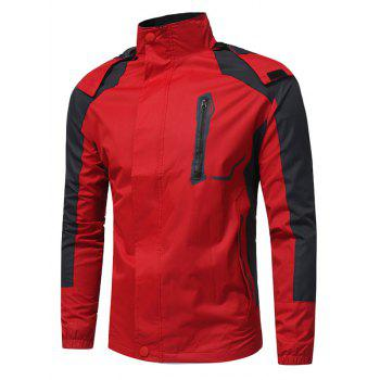 Hooded Color Block Zip Up Technical Jacket - RED RED