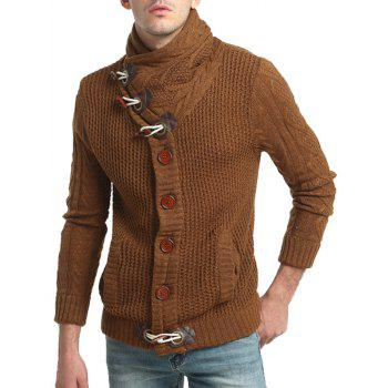 Cowl Neck Single Breasted Horn Button Cardigan - CAMEL CAMEL