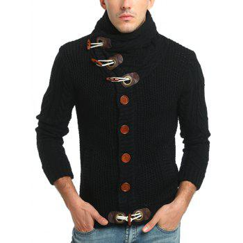 Cowl Neck Single Breasted Horn Button Cardigan - BLACK XL