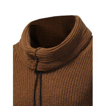 Drawstring Cowl Neck Pullover Sweater - CAMEL 2XL