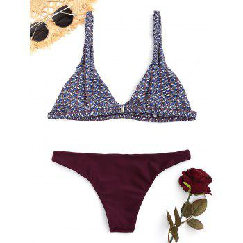 Contrast Tribal Print Bikini Set - COLORMIX L