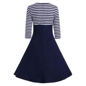 Striped Button Embellished Vintage A Line Dress - DEEP BLUE S