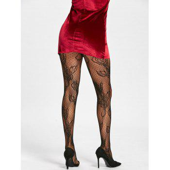 Flower Fishnet See Thru Tights - [