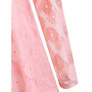 Plus Size Floral Lace Panel Longline Blouse - PINK 4XL