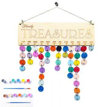 Family Birthday Calendar DIY Colorful Wooden Board - ROUND ROUND