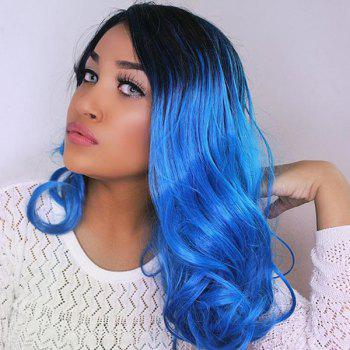 Center Parting Medium Curly Ombre Synthetic Wig - BLACK AND BLUE BLACK/BLUE
