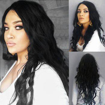 Long Side Parting Fluffy Natural Wave Synthetic Wig - BLACK BLACK