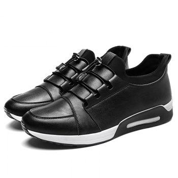 Low Top PU Leather Casual Shoes - BLACK 40