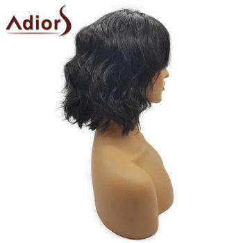 Adiors See-Through Bang Fluffy Short Wavy Bob Synthetic Wig - NATURAL BLACK
