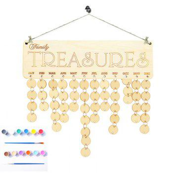 Family Birthday Calendar DIY Colorful Wooden Board - ROUND