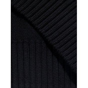 Ribbed Color Block Zip-front Cardigan - BLACK L