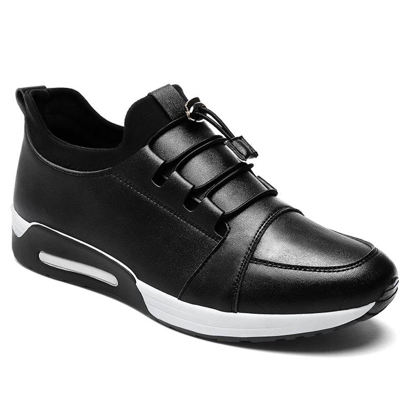 Low Top PU Leather Casual Shoes - BLACK 42