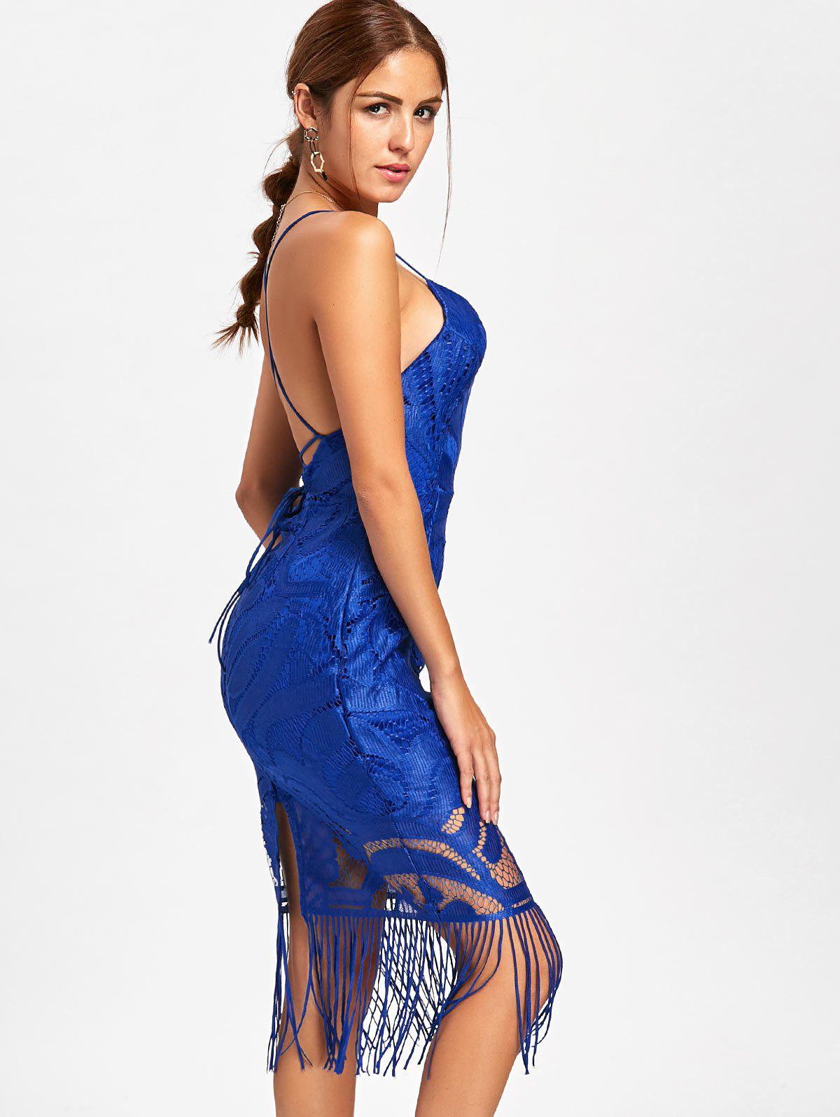 Robe Lia Backless Fringe Cami - Bleu S