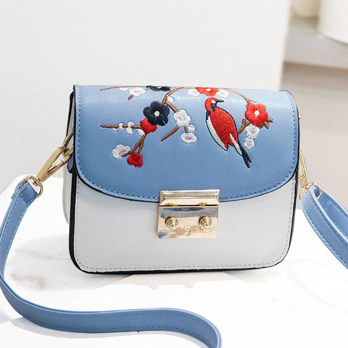 Bird Flower Embroidery Crossbody Bag - BLUE
