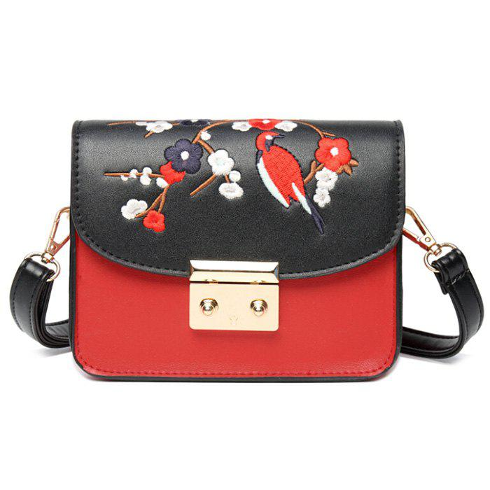 Bird Flower Embroidery Crossbody Bag - BLACK